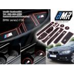 ยางปูช่องวางของ วางแก้ว BMW series3 F30 ลาย M sport สีแดง BMW E36 E39 E46 E60 E90 F10 F20 F30 X1 X2 X3 X5 M3 M5